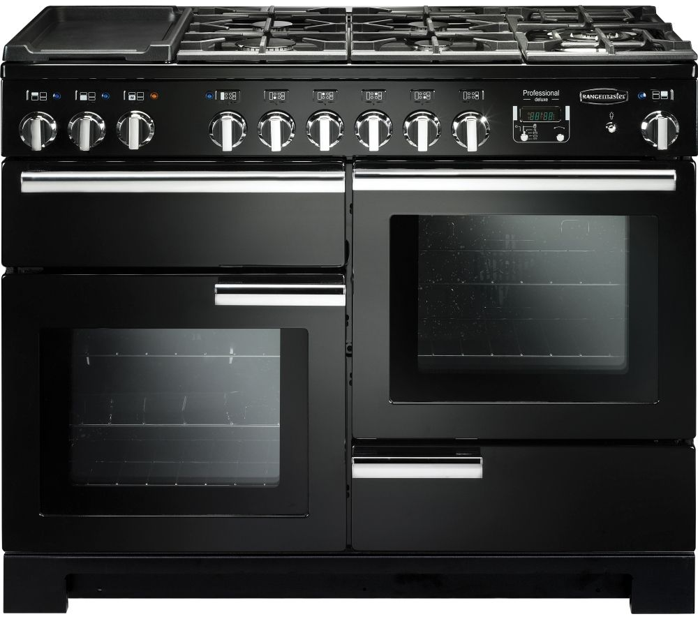 Rangemaster Professional Deluxe PDL110DFFGB/C 110 cm Dual Fuel Range Cooker - Black & Chrome, Black
