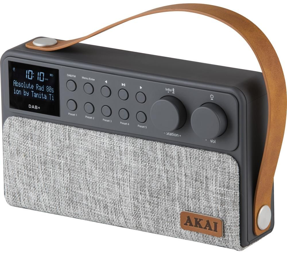Image of AKAI A61028 Portable DABﱓ Bluetooth Radio - Grey, Grey