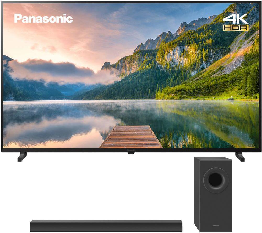 "65"" PANASONIC TX-65JX800B Smart 4K Ultra HD HDR LED TV & 2.1 Wireless Soundbar Bundle"