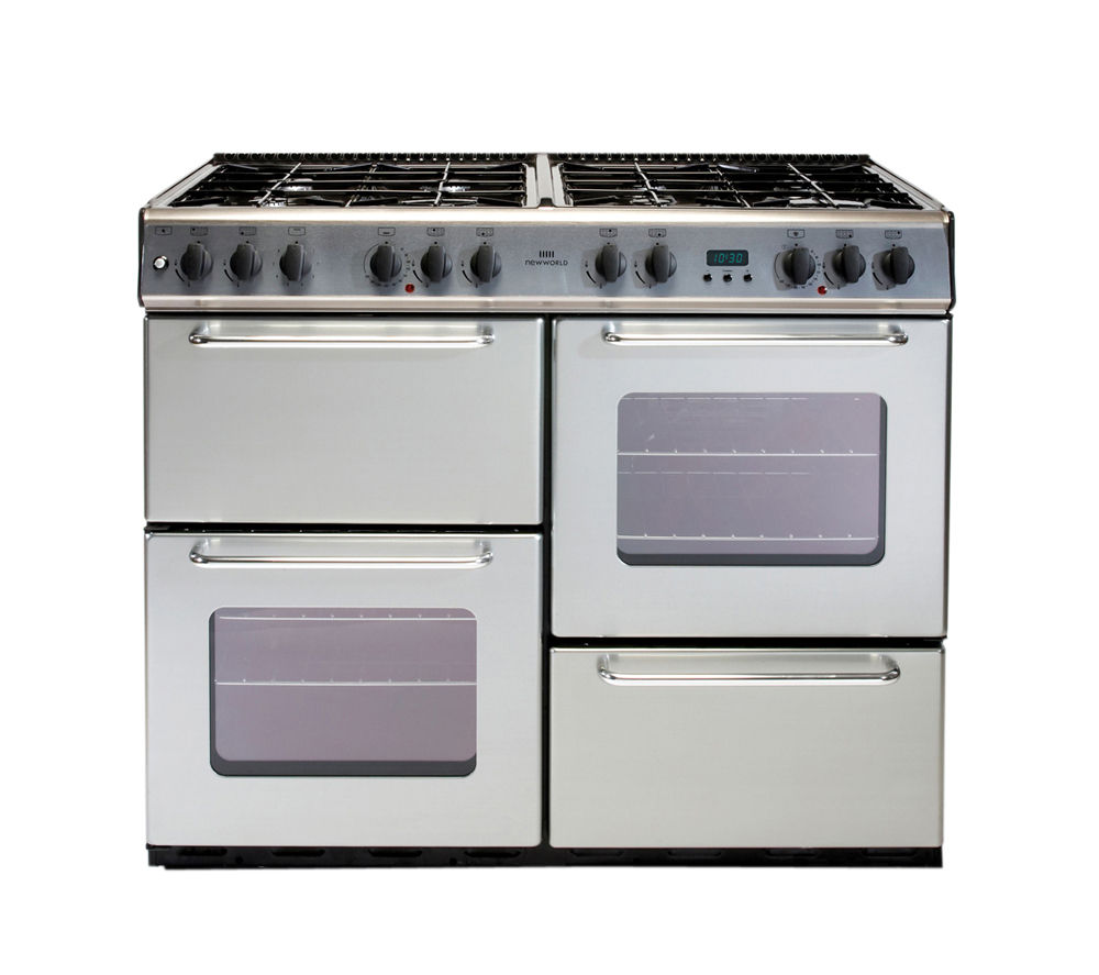 NEW WORLD 100GT Gas Range Cooker - Silver, Silver
