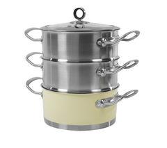 MORPHY RICHARDS 46382 18 cm 3-Tier Steamer - Cream