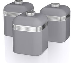 Retro SWKA1020GRN 1-litre Canisters - Grey, Pack of 3