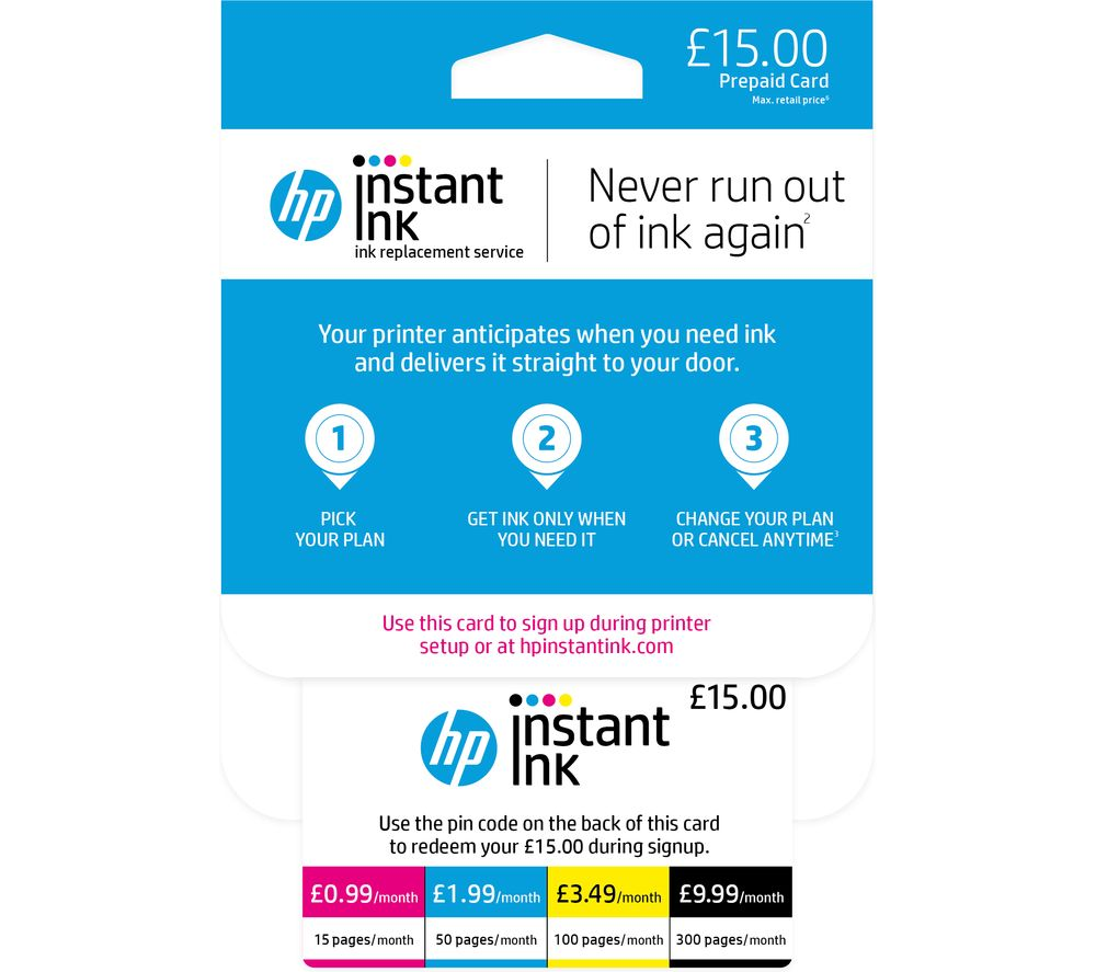 HP Instant Ink £15 Prepaid Card