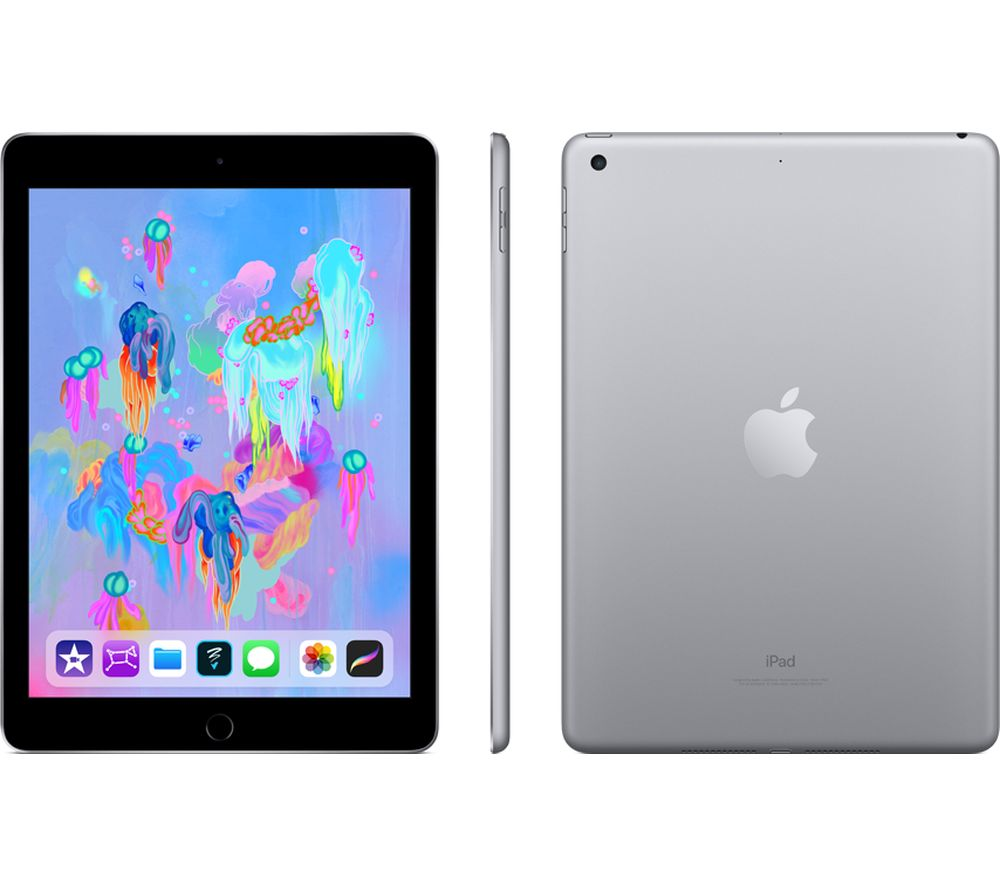 "APPLE 9.7"" iPad - 128 GB, Space Grey (2018) + Pencil - White"