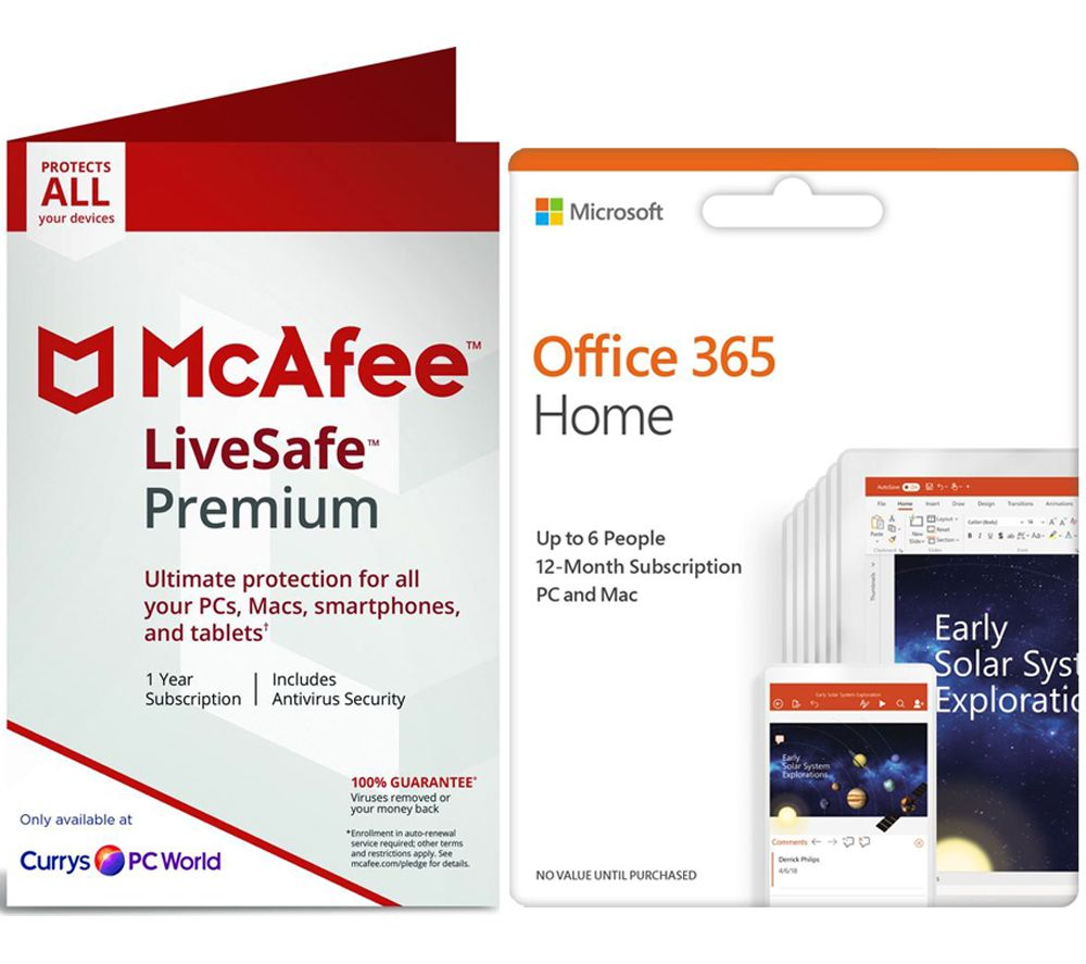 MCAFEE LiveSafe Premium 2019 for Unlimited Devices & Office 365 Home for 5 Users Bundle - 1 year