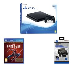 PlayStation 4, Marvel's Spider-Man: Game of the Year Edition & Twin Docking Station Bundle - 500 GB