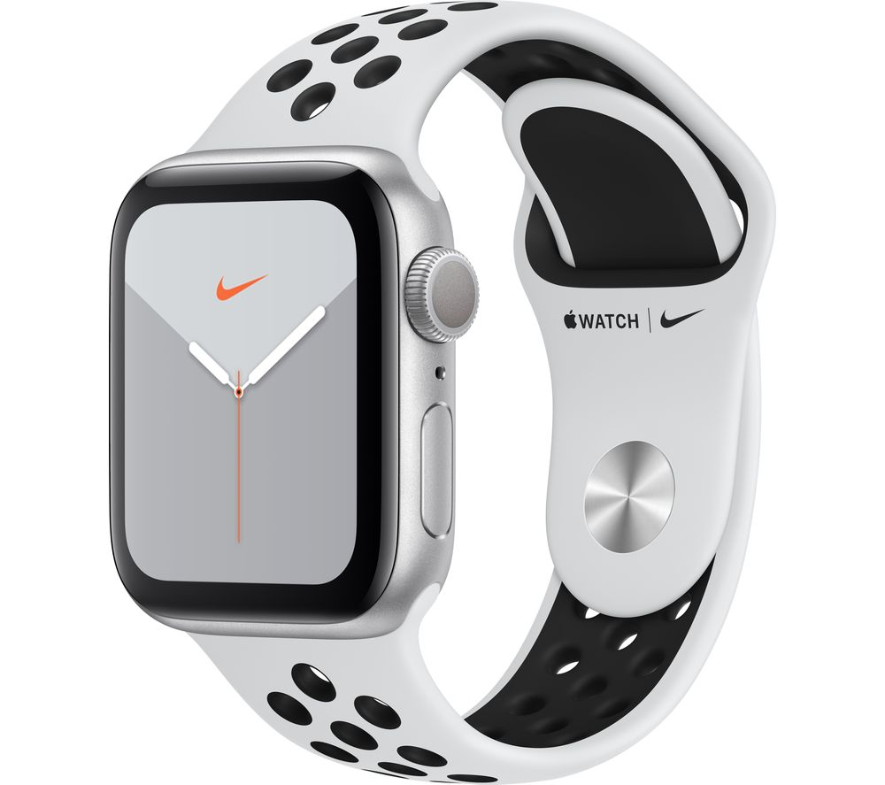 APPLE Watch Series 5 - Silver with Pure Platinum & Black Nike Sports Band, 40 mm