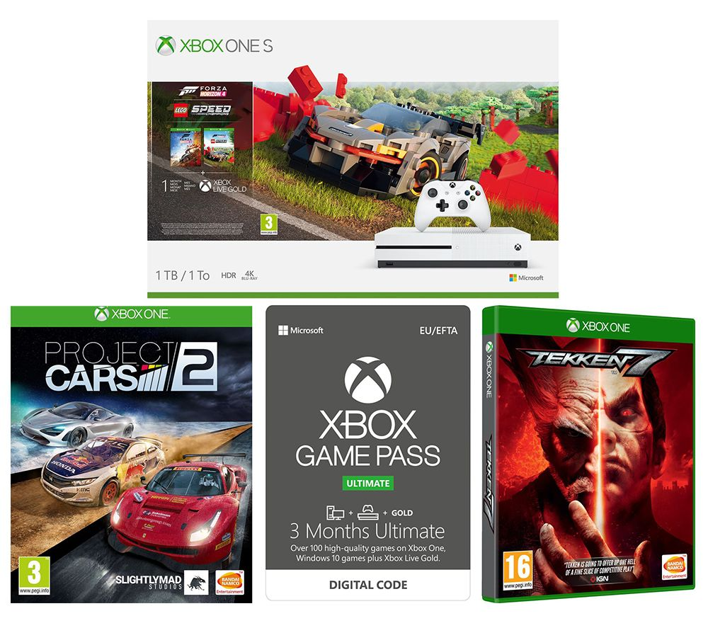MICROSOFT Xbox One S, Forza Horizon 4, LEGO Speed Champions, Tekken 7, Project Cars 2 & Xbox One Game Pass Ultimate Bundle