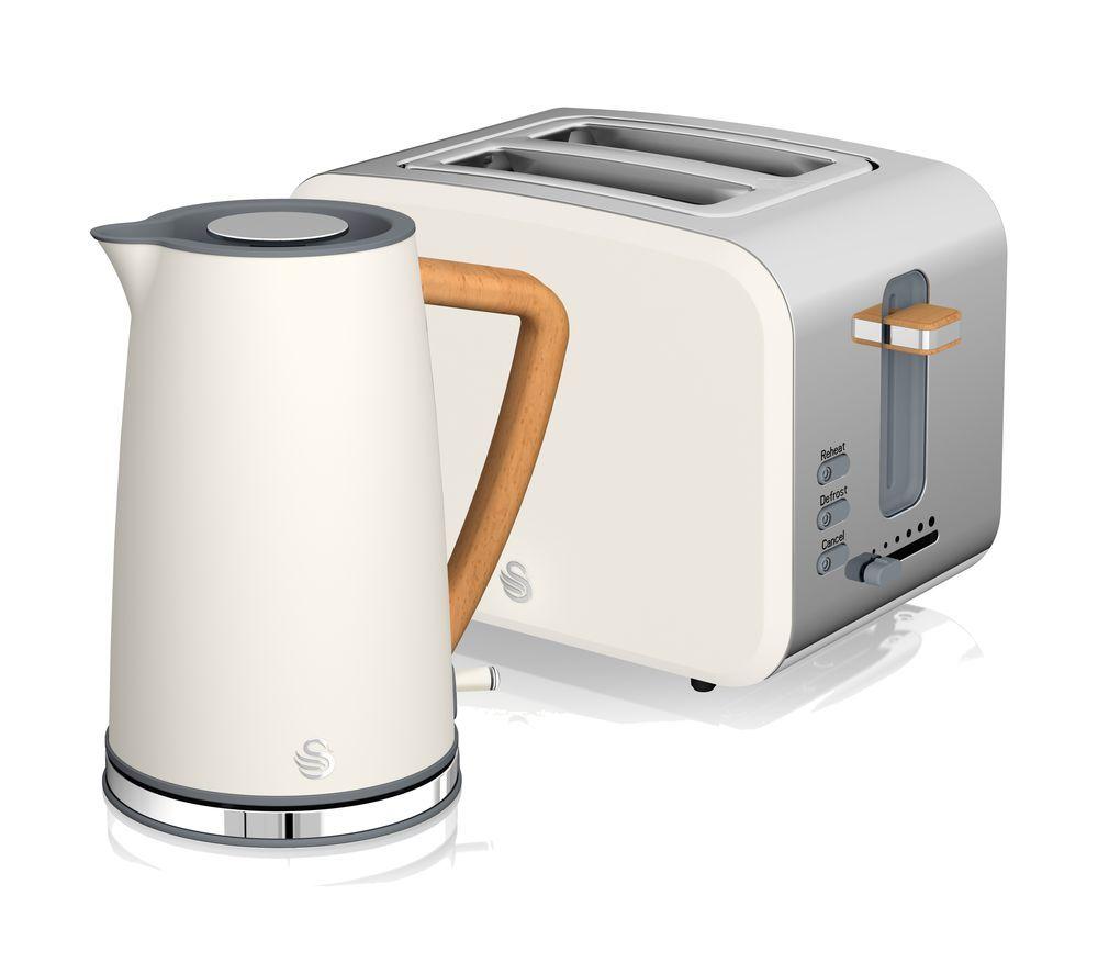 Image of SWAN Nordic 2-Slice Toaster & Cordless Jug Kettle Bundle - White, White