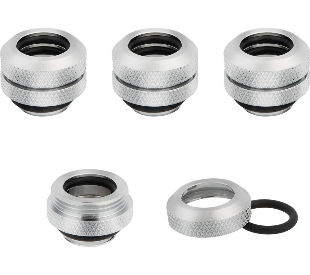 CORSAIR Hydro X Series XF 12mm Hardline Fitting - Chrome, Pack of 4
