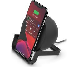 10 W Qi Wireless Charging Stand with Bluetooth Speaker - Black