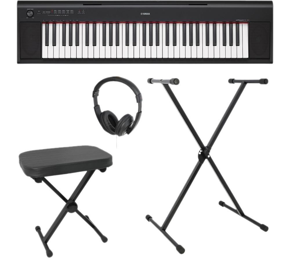 YAMAHA NP-12 Piaggero Keyboard Bundle - Black
