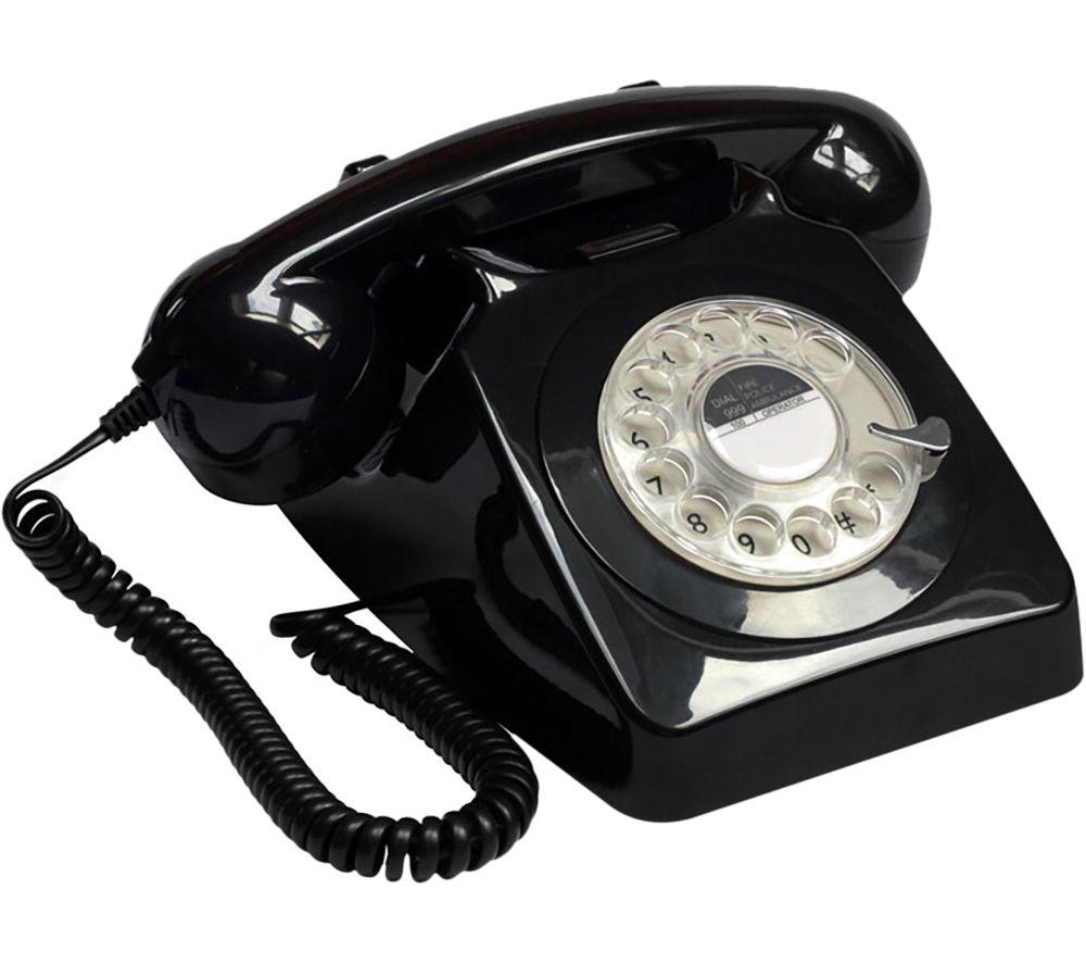 GPO 746 Rotary Corded Phone - Black, Black