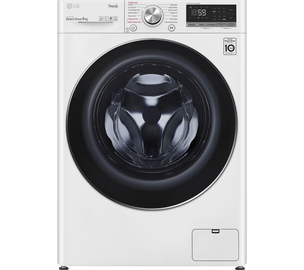 LG TurboWash with AI DD V7 F4V709WTSE WiFi-enabled 9 kg 1400 Spin Washing Machine - White