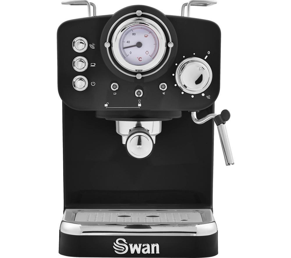 SWAN Retro Pump Espresso SK22110BN Coffee Machine - Black, Black