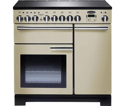 RANGEMASTER Professional Deluxe 90 Electric Induction Range Cooker - Cream & Chrome Best Price, Cheapest Prices