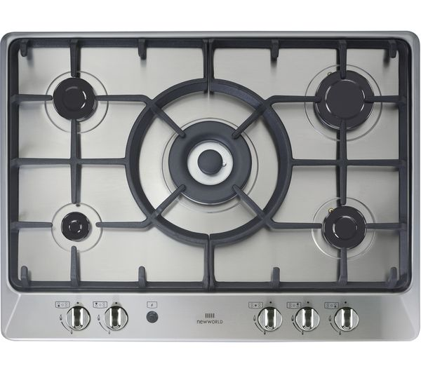 NEW WORLD  NWGHU701 Gas Hob – Stainless Steel, Stainless Steel
