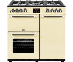 BELLING Kensington 90DFT Dual Fuel Range Cooker - Cream & Chrome