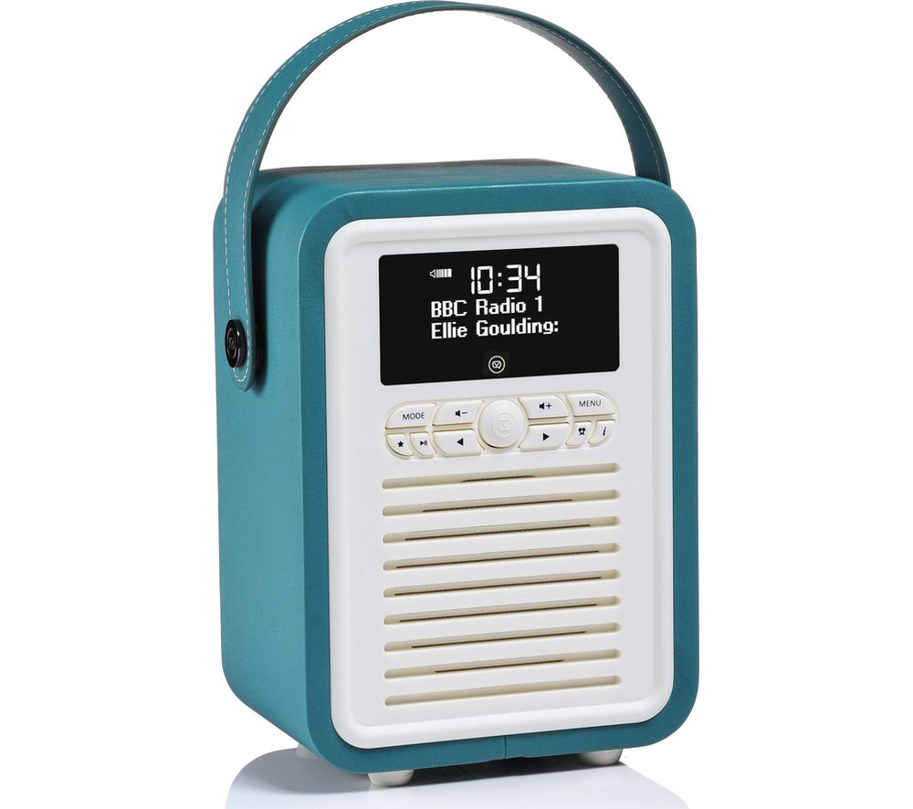 VQ Retro Mini Portable DAB+/FM Bluetooth Clock Radio - Teal
