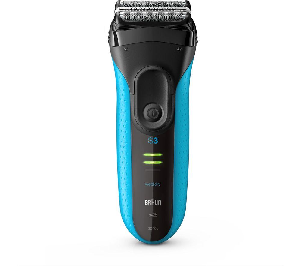 BRAUN Series 3 3040S Wet & Dry Shaver - Black & Blue
