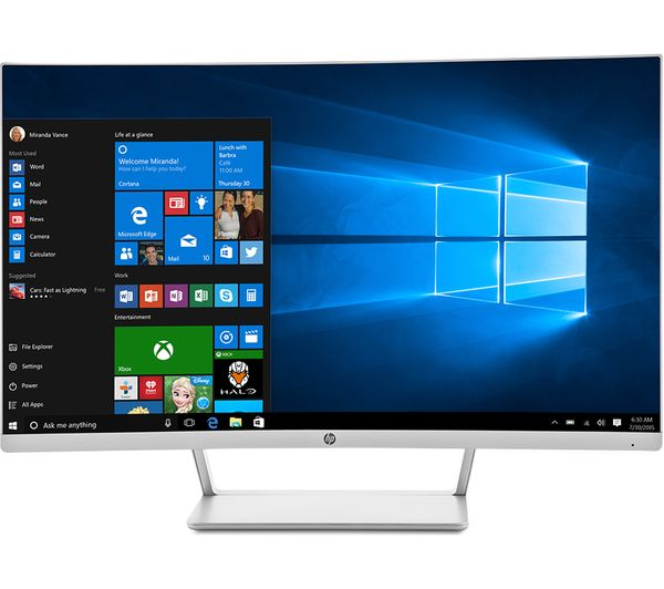 Buy Hp 27 Full Hd 27 Quot Curved Led Monitor White Amp Silver Free Delivery Currys