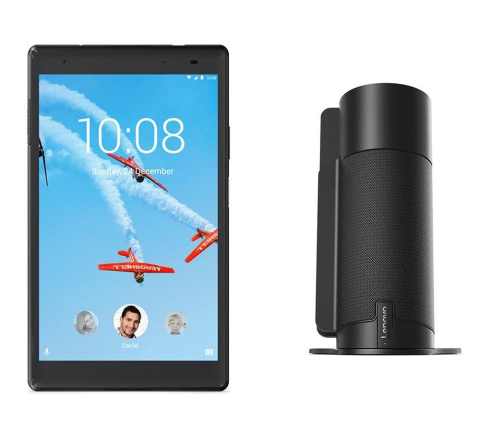 "Image of LENOVO Tab 4 Plus 8"" Tablet & Tab 4 Smart Assistant Voice Controlled Speaker Bundle - Black, Black"
