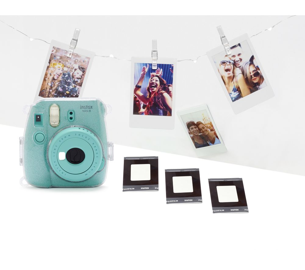 INSTAX mini 9 Instant Camera with Film, Case, LED Peg Lights & Frame Stickers Bundle - Aquamarine