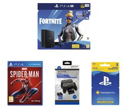 SONY PlayStation 4 Pro with Fortnite Neo Versa, Spider-Man, Docking Station & PlayStation Plus Bundle