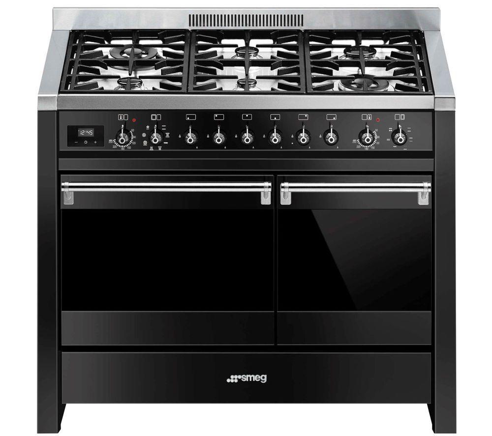 SMEG Opera A2BL-81 100 cm Dual Fuel Range Cooker - Black & Stainless Steel