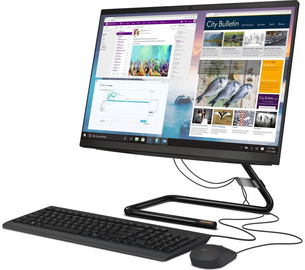 "Image of LENOVO IdeaCentre AIO 3 23.8"" All-in-One PC - AMD Ryzen 5, 256 GB SSD, Black"