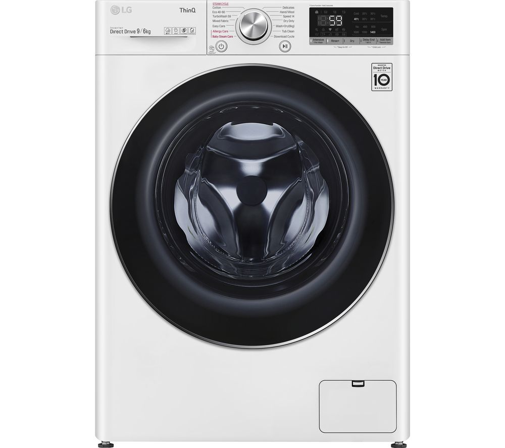 LG TurboWash with AI DD V7 FWV796WTSE WiFi-enabled 9 kg Washer Dryer - White