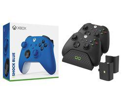 Xbox Wireless Controller & Venom Xbox Series X/S Twin Docking Station Bundle - Shock Blue