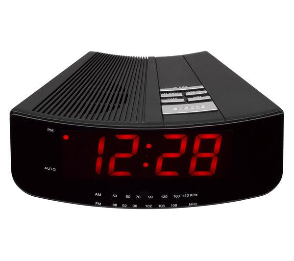 Image of LOGIK LCRAN12 FM/AM Clock Radio - Black