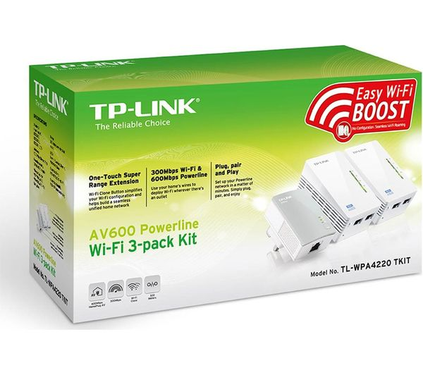 buy tp link tl wpa4220t wifi powerline adapter kit av600 triple pack free delivery currys. Black Bedroom Furniture Sets. Home Design Ideas