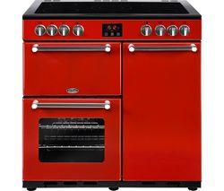 BELLING Kensington 90 cm Electric Ceramic Range Cooker - Red & Chrome Best Price, Cheapest Prices