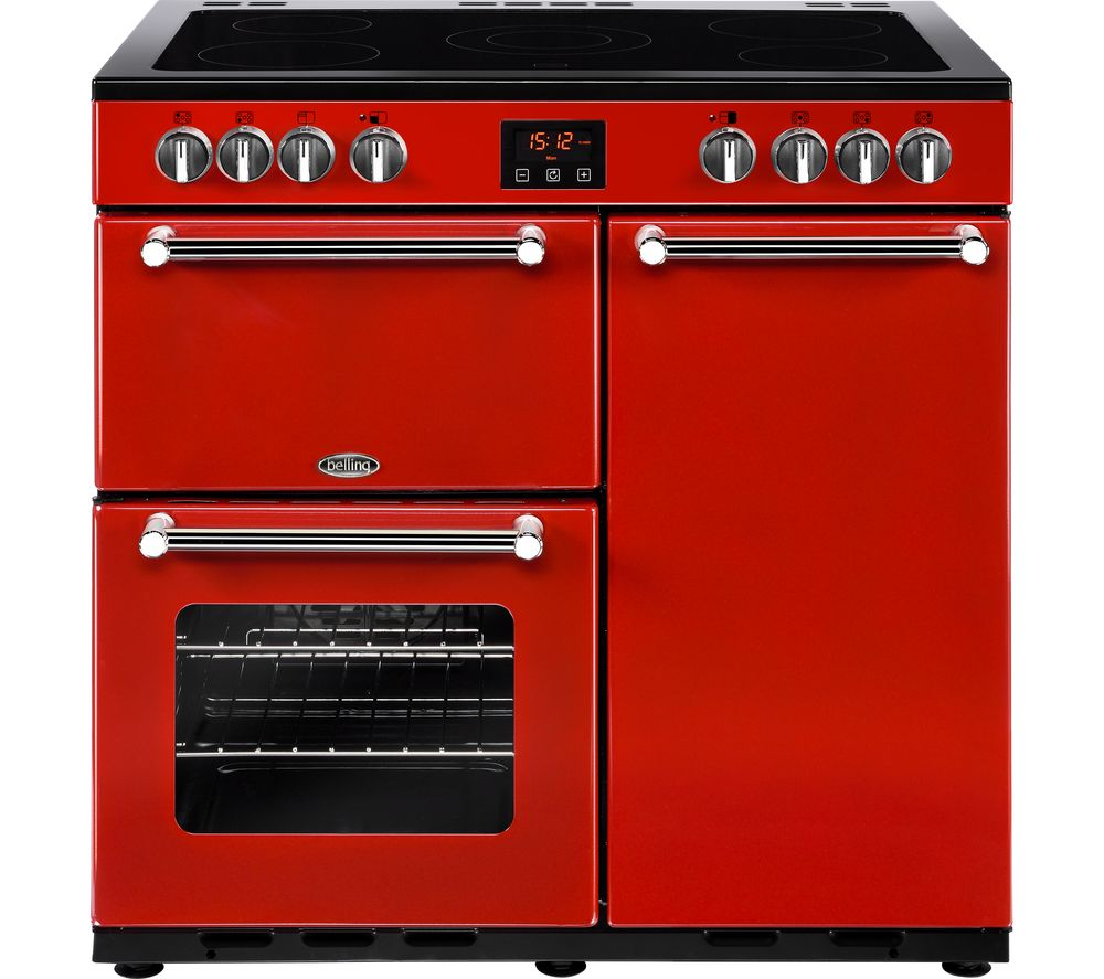 BELLING Kensington 90 cm Electric Ceramic Range Cooker - Red & Chrome