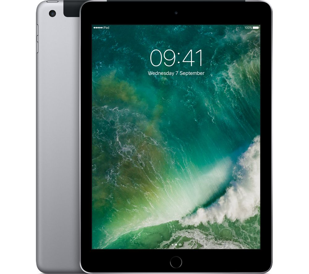 "APPLE 9.7"" iPad - 128 GB, Space Grey + MD836B/B USB Power Adapter"