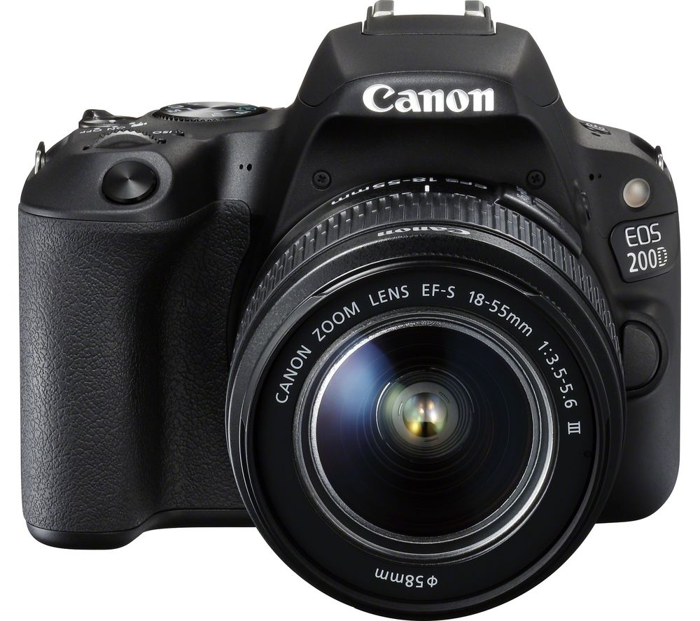 Image of CANON EOS 200D DSLR Camera with EF-S 18-55 mm f/4-5.6 DC Lens - Black, Black