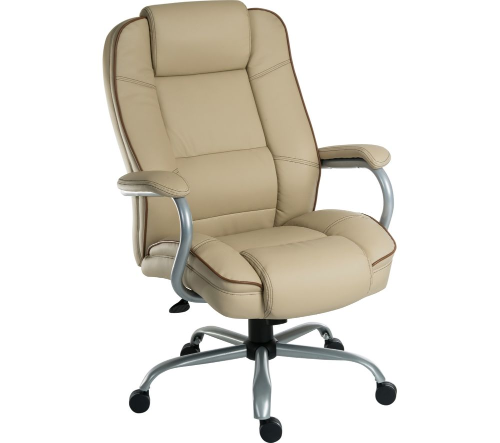 cream office chair teknik goliath duo bonded leather reclining executive 13617 | u 10167862