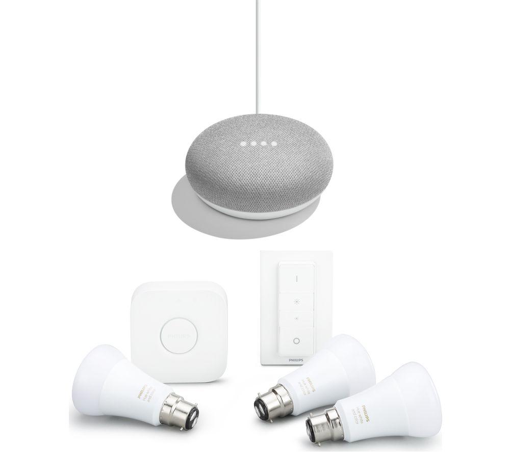 PHILIPS Hue White & Colour B22 Kit & Google Home Mini Bundle - Chalk