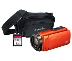 JVC GZ-R495BEK Camcorder & Accessories Bundle - Orange
