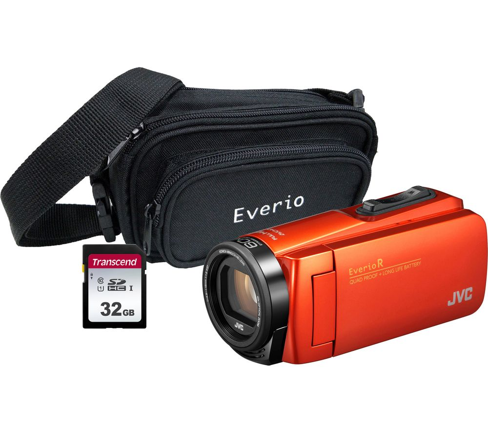 JVC GZ-R495BEK Camcorder & Accessories Bundle – Orange, Orange