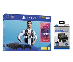 SONY PlayStation 4 500 GB with FIFA 19, Dual Wireless Controllers & Twin Docking Station Bundle
