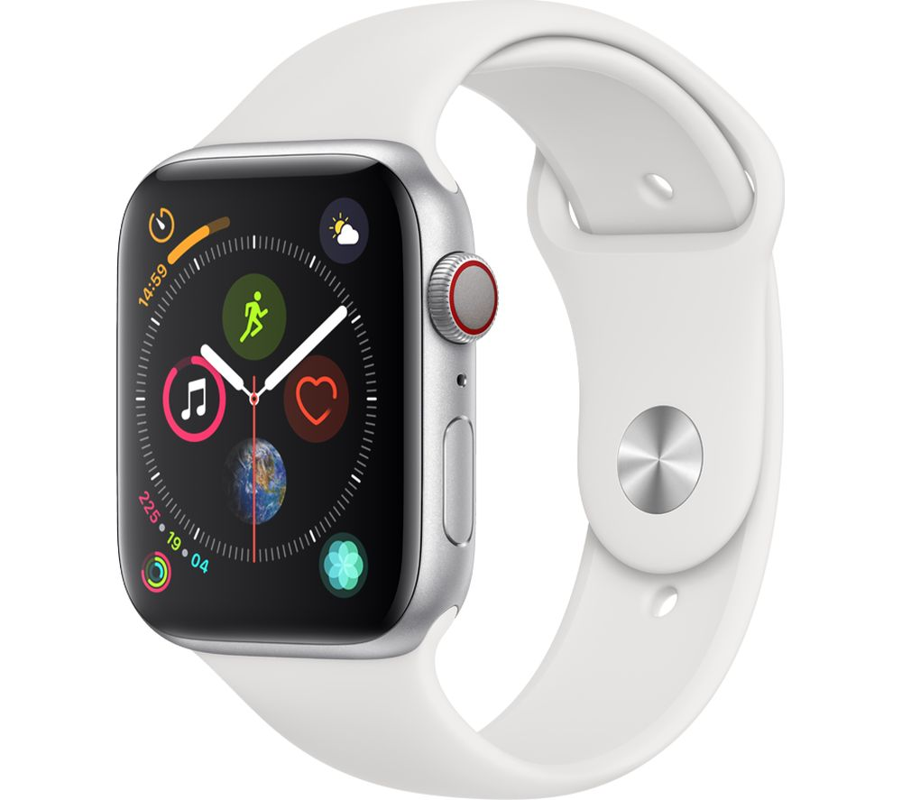APPLE Watch Series 4 Cellular - Silver & White Sports Band, 44 mm