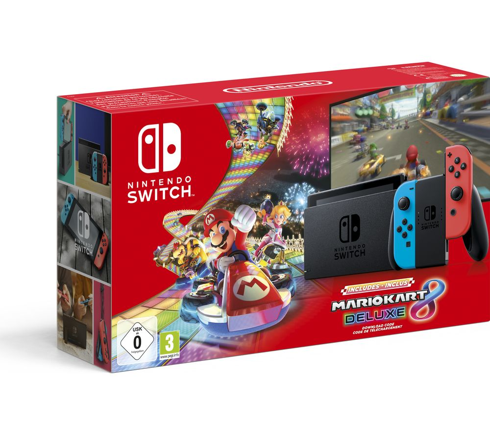 Switch Neon Red With Mario Kart 8 Deluxe