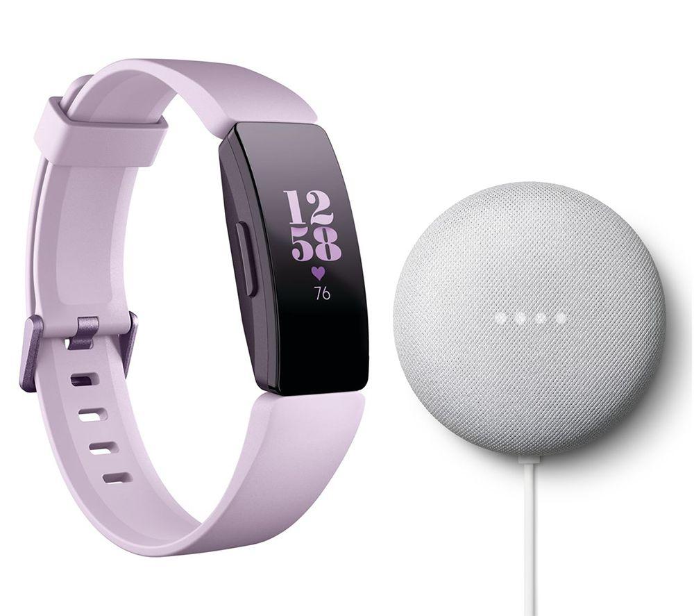 FITBIT Inspire HR Fitness Tracker Lilac & Google Nest Mini Chalk Bundle