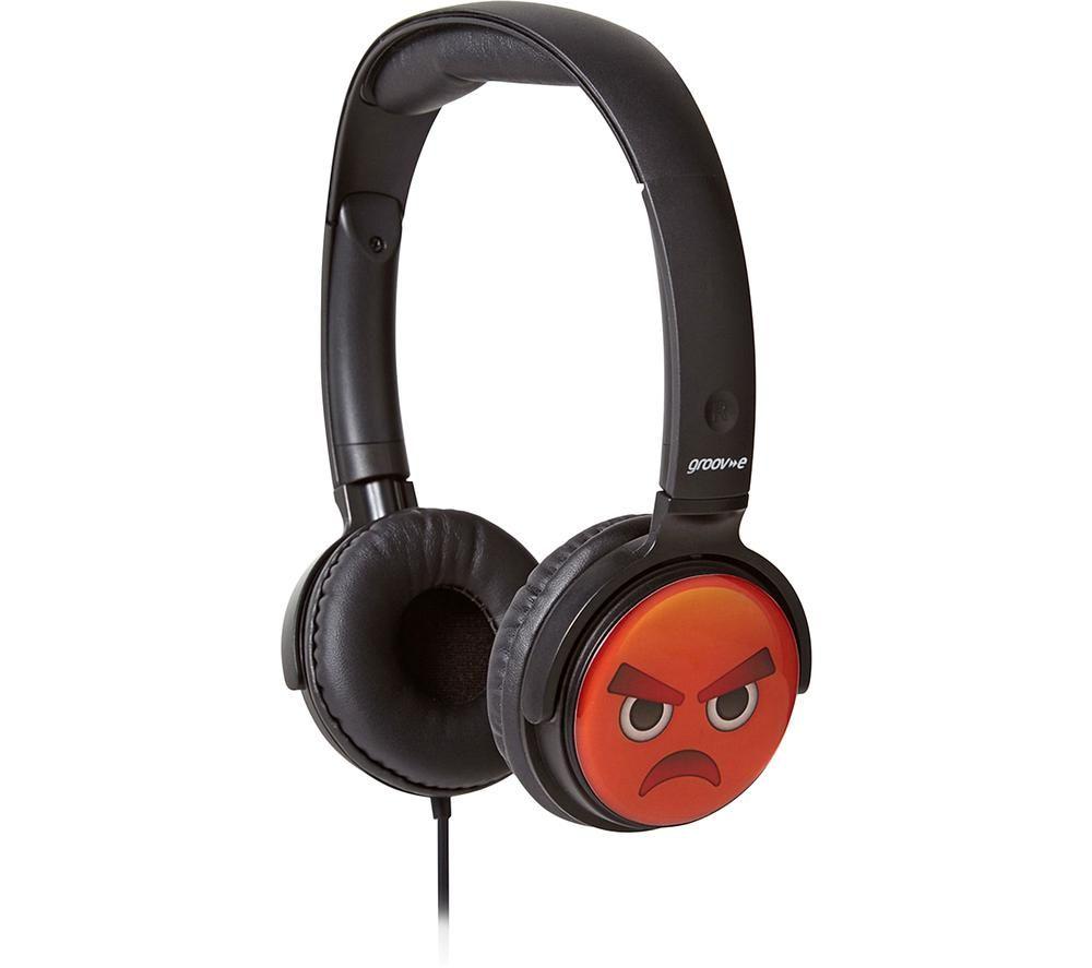 Image of GV-EMJ11 EarMOJI's Angry Face Kids Headphones - Black, Black
