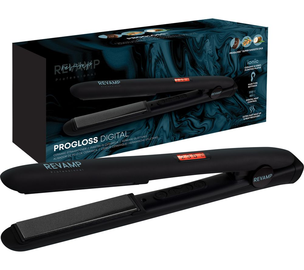 REVAMP Progloss Digital Hair Straightener - Matte Black, Black