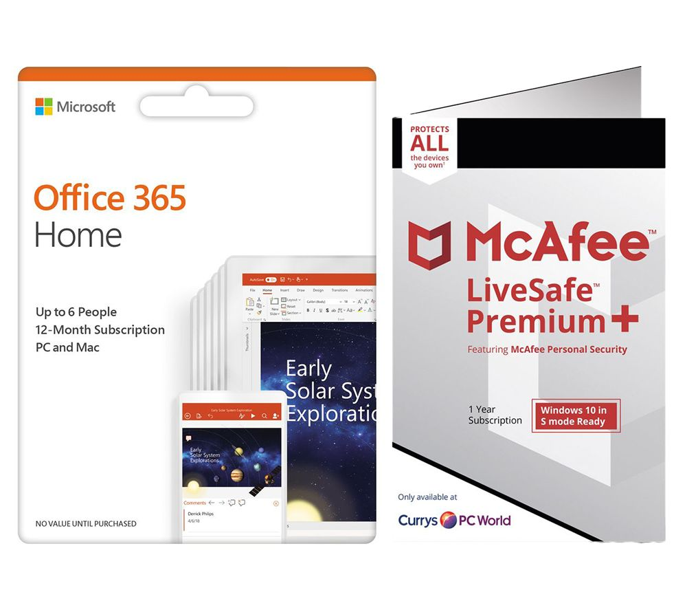 Image of MCAFEE LiveSafe Premium 2020 & Microsoft Office Home Bundle