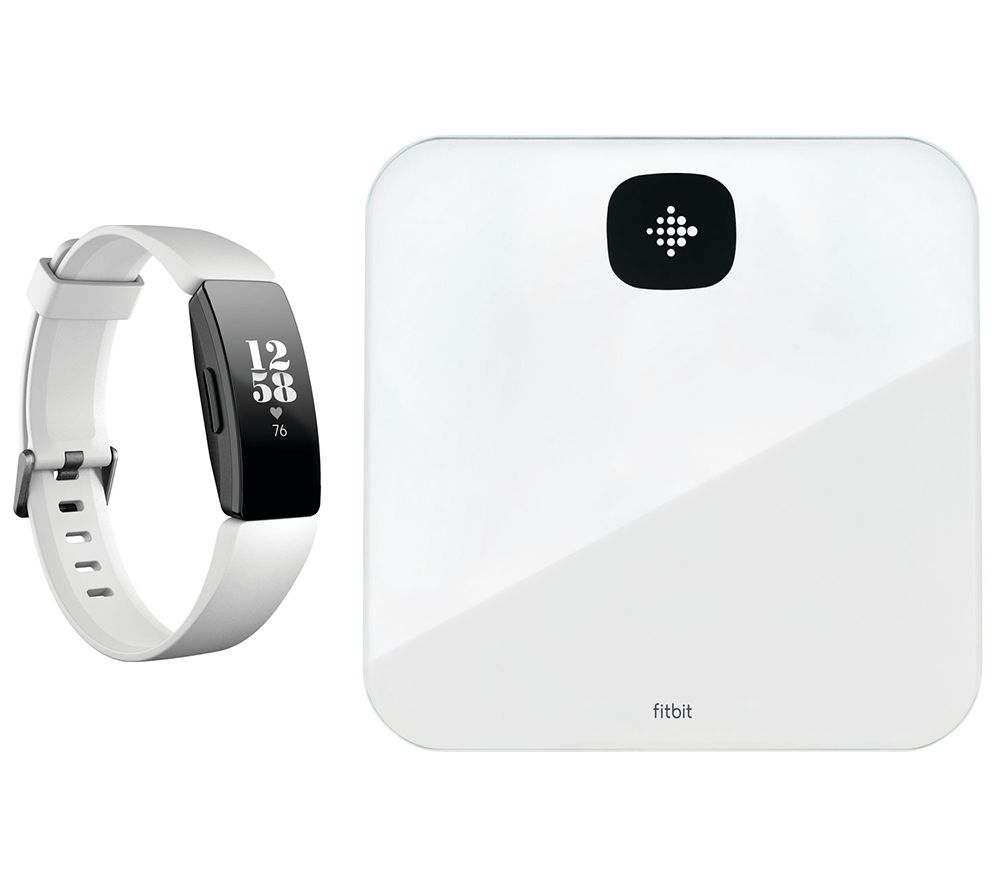 FITBIT Inspire HR Fitness Tracker & Aria Air Smart Scale Bundle - White